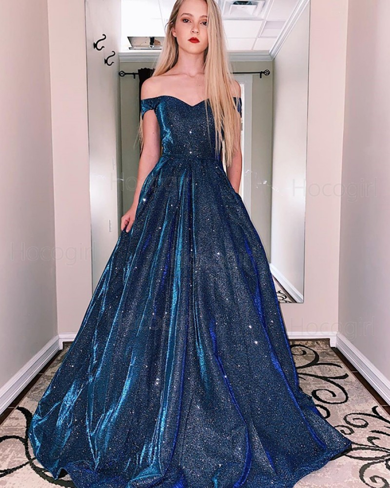 Off the Shoulder Metal A-line Prom Dress with Pockets PM1940