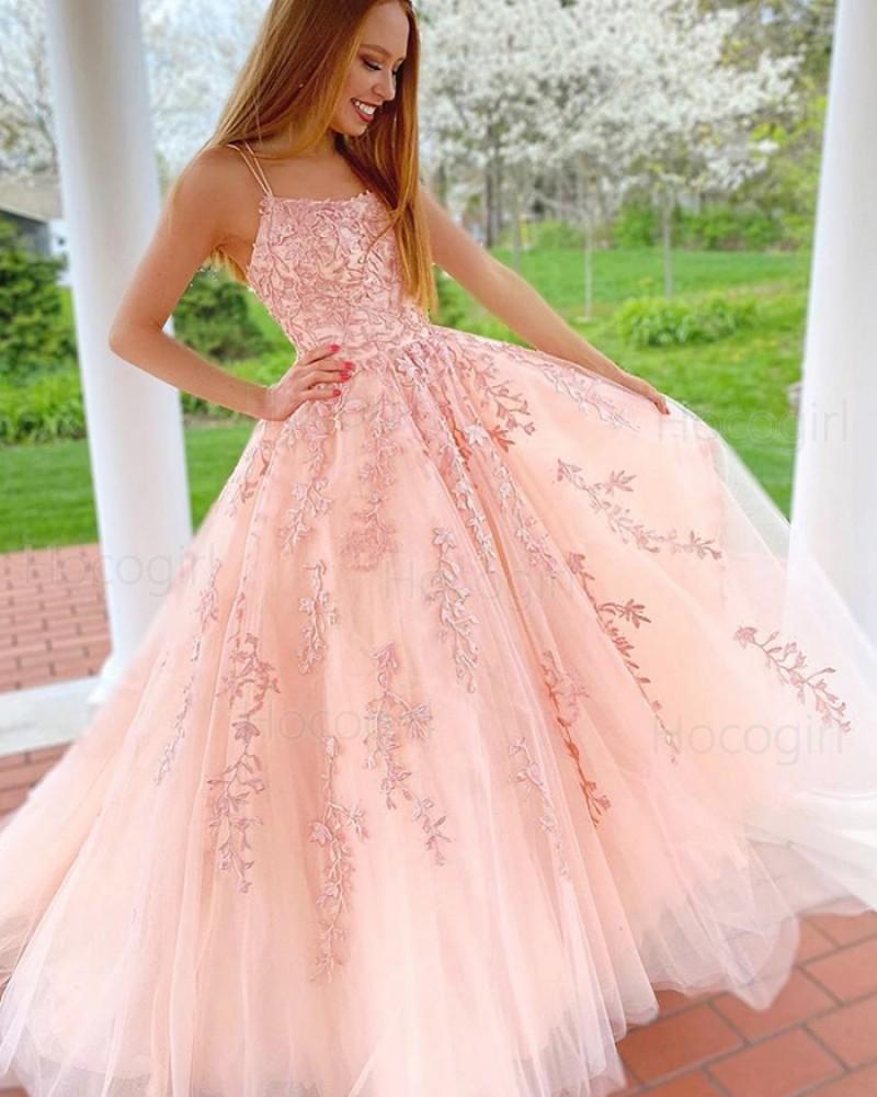 Spaghetti Straps Lace Applique Tulle Pink Prom Dress PM1942