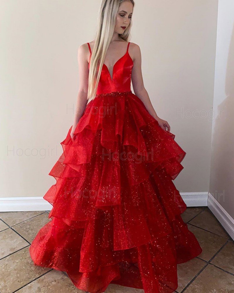 Spaghetti Straps Red Formal Dress with Sparkle Layered Skirt PM1943