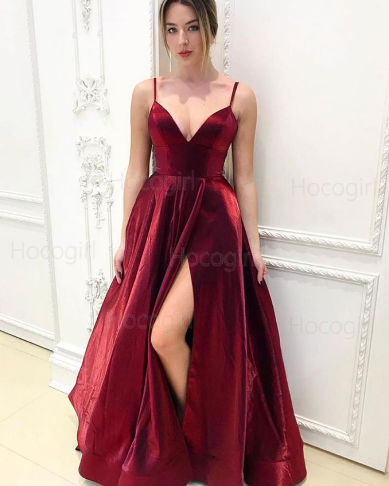 Simple Spaghetti Straps Velvet Burgundy Prom Dress with Side Slit PM1953