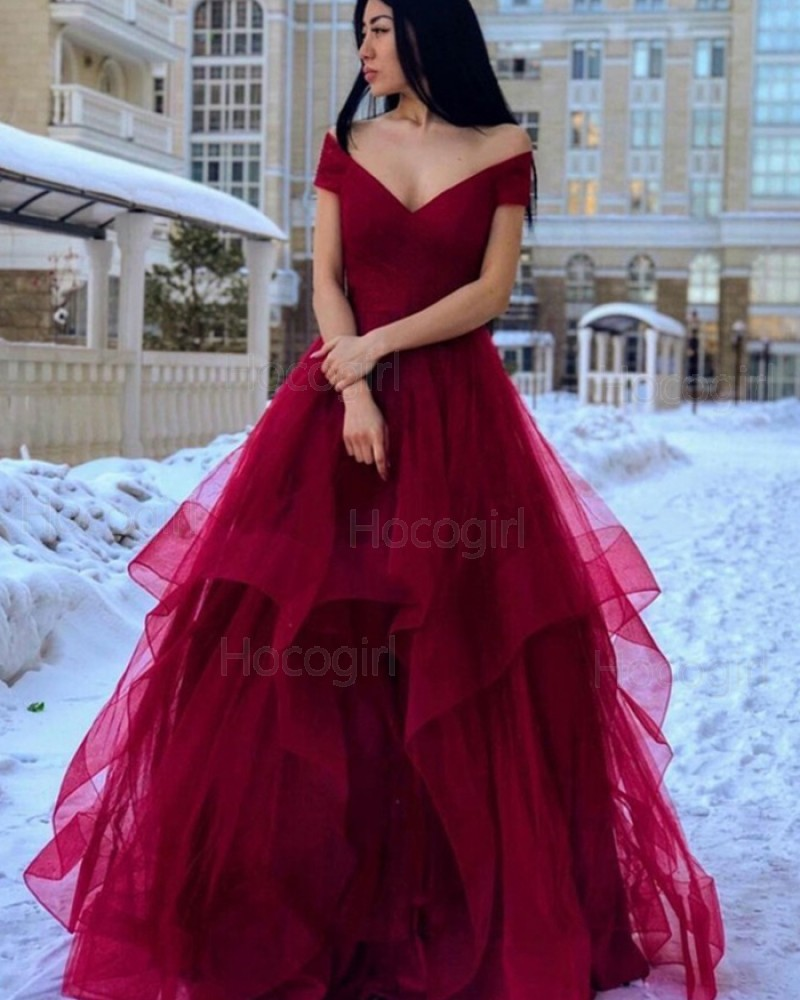 Simple Off the Shoulder Burgundy Ruffled Prom Dress PM1962
