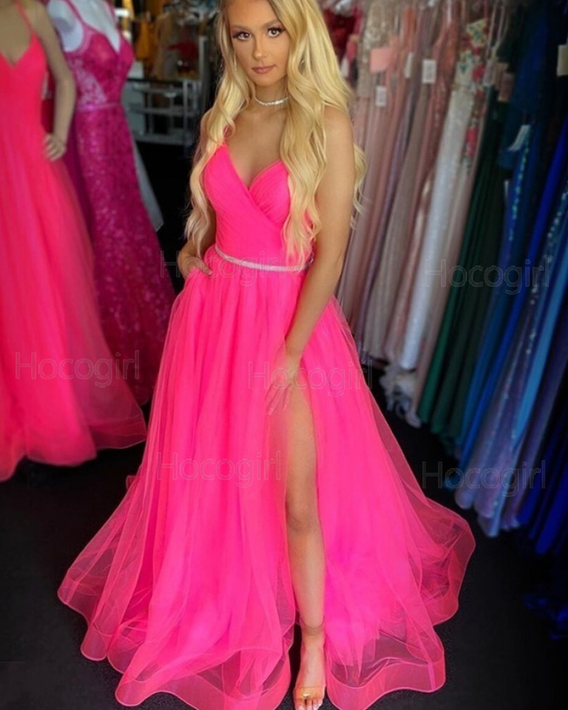 Spaghetti Straps Ruched Pink Tulle Prom Dress with Slit PM1970