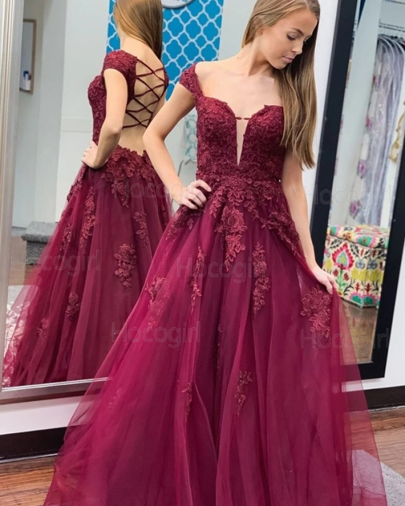 Cap Sleeve Burgundy Lace Applique Tulle Prom Dress PM1971