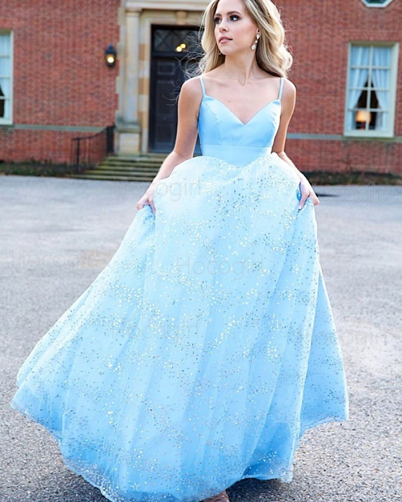 Spaghetti Straps Light Blue Prom Dress with Sequin Skirt PM1972