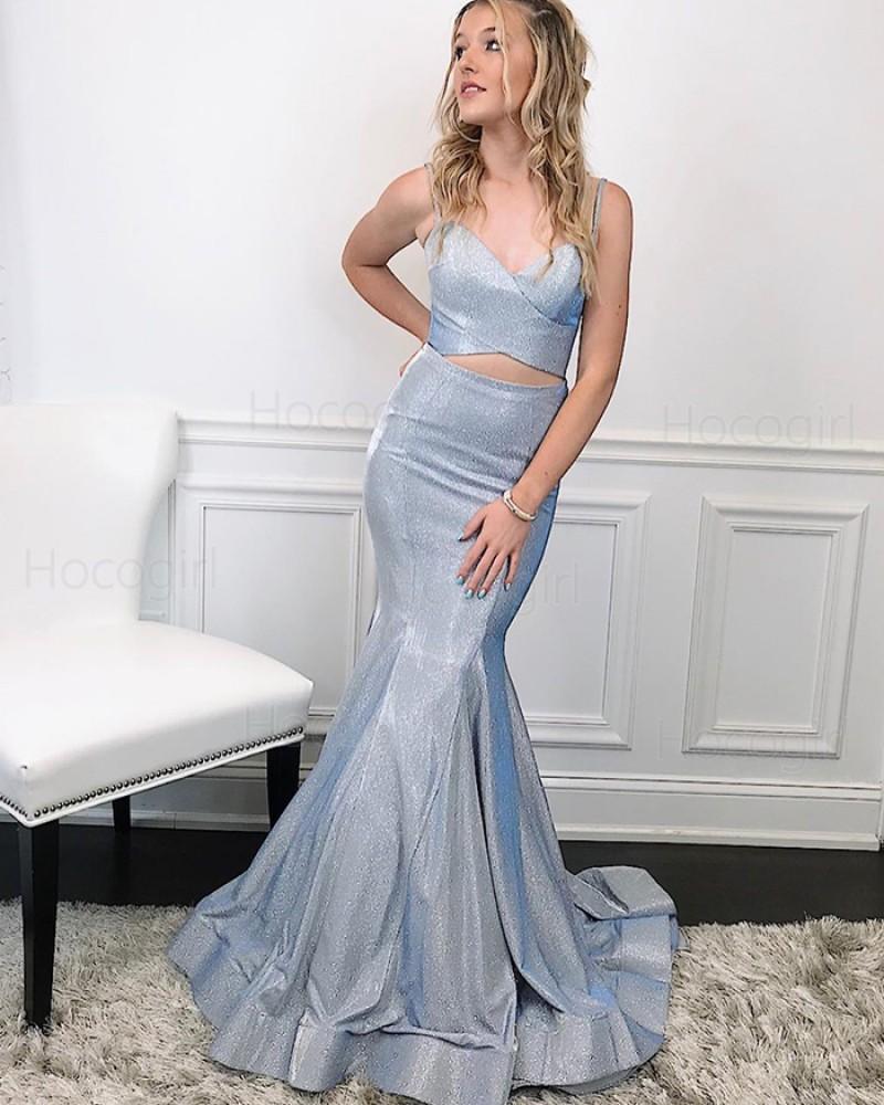 Spaghetti Straps Two Piece Silver Metal Mermaid Prom Dress PM1991