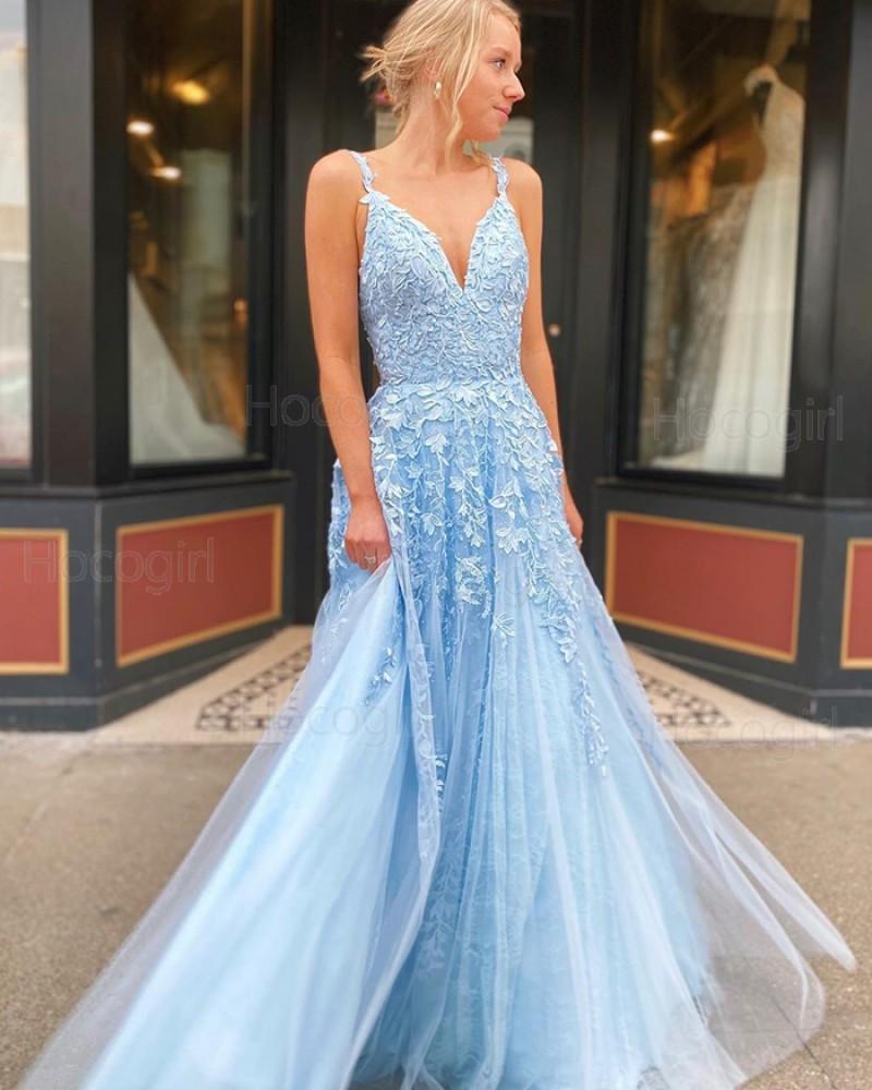 V-neck Light Blue Lace Applique A-line Tulle Prom Dress PM1993