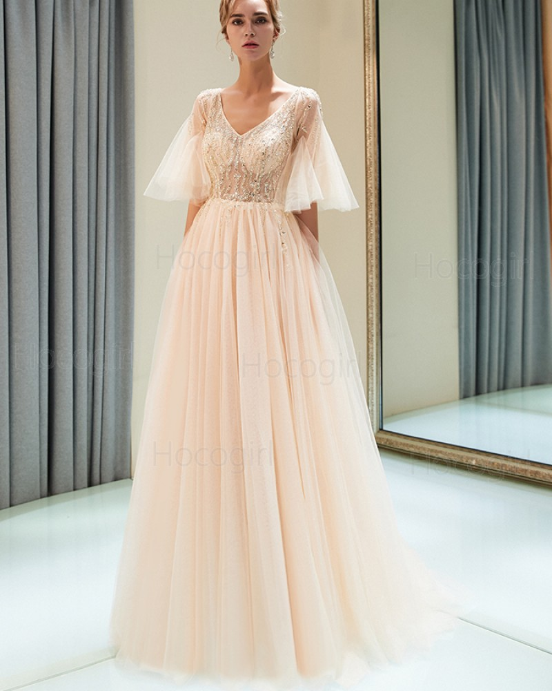 V-neck Champagne Beading Bodice Tulle Long Evening Dress with Short Bell Sleeves QD002