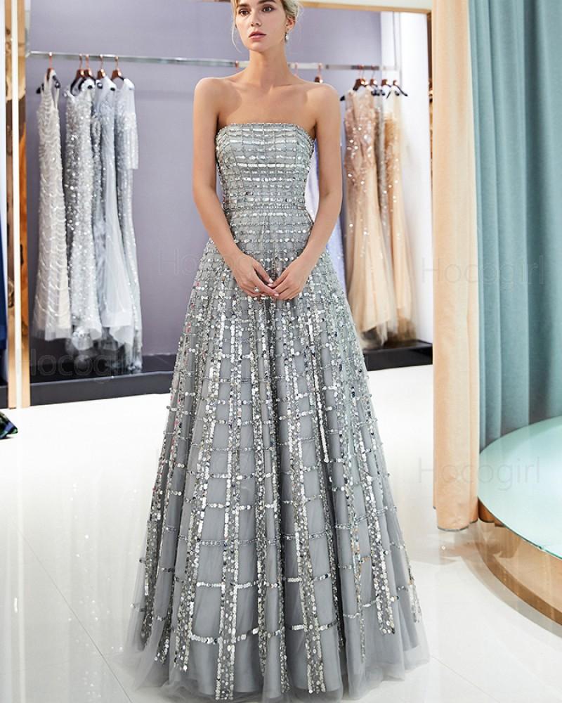 Amazing Strapless Metallic Beading Grey Pleated Evening Dress QD007