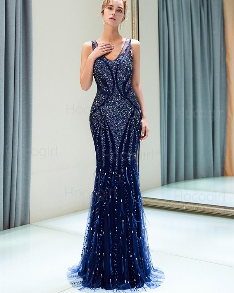 Amazing V-neck Royal Blue Sparkle Beading Mermaid Evening Dress QD013
