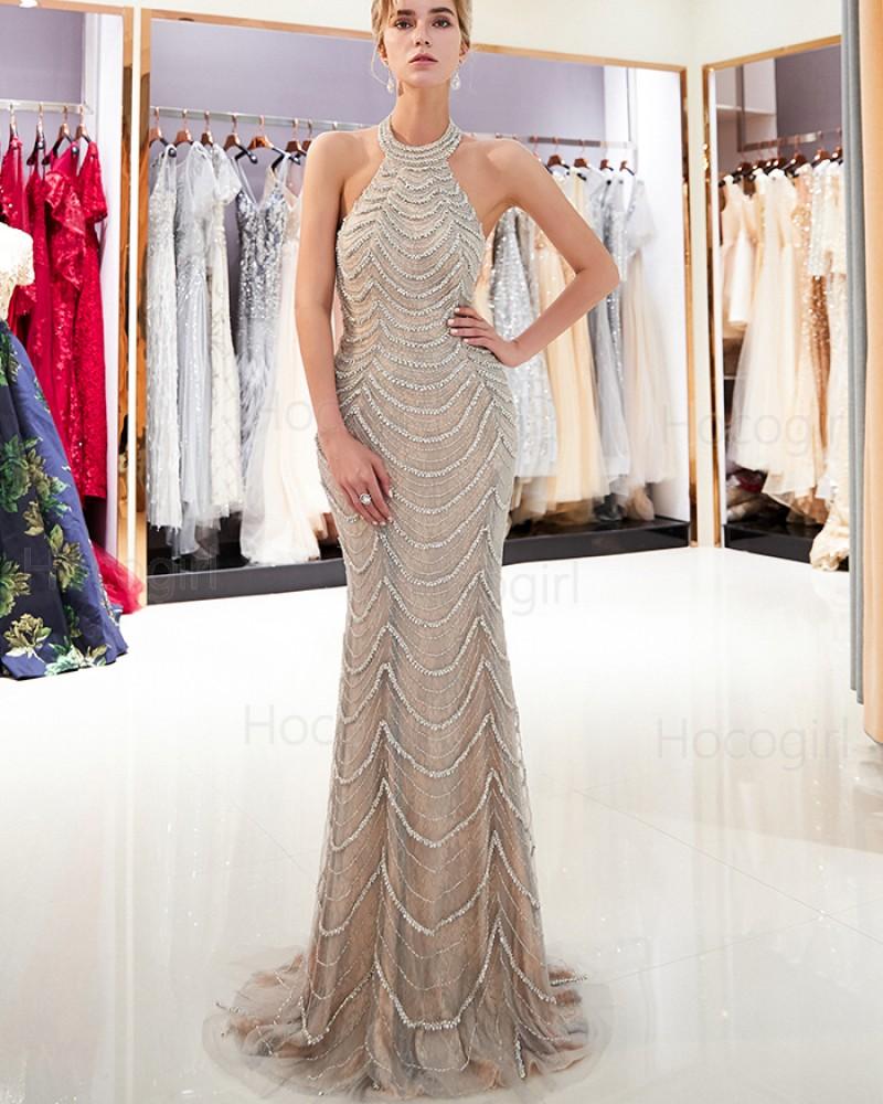 Gorgeous High Neck Beige Beading Sparkle Mermaid Evening Dress QD017