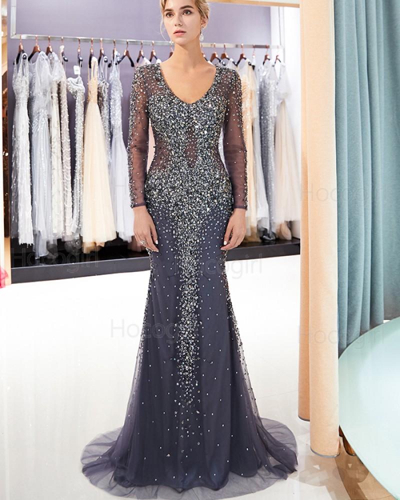 Scoop Blue Bling Beading Mermaid Evening Dress with Long Sleeves QD018