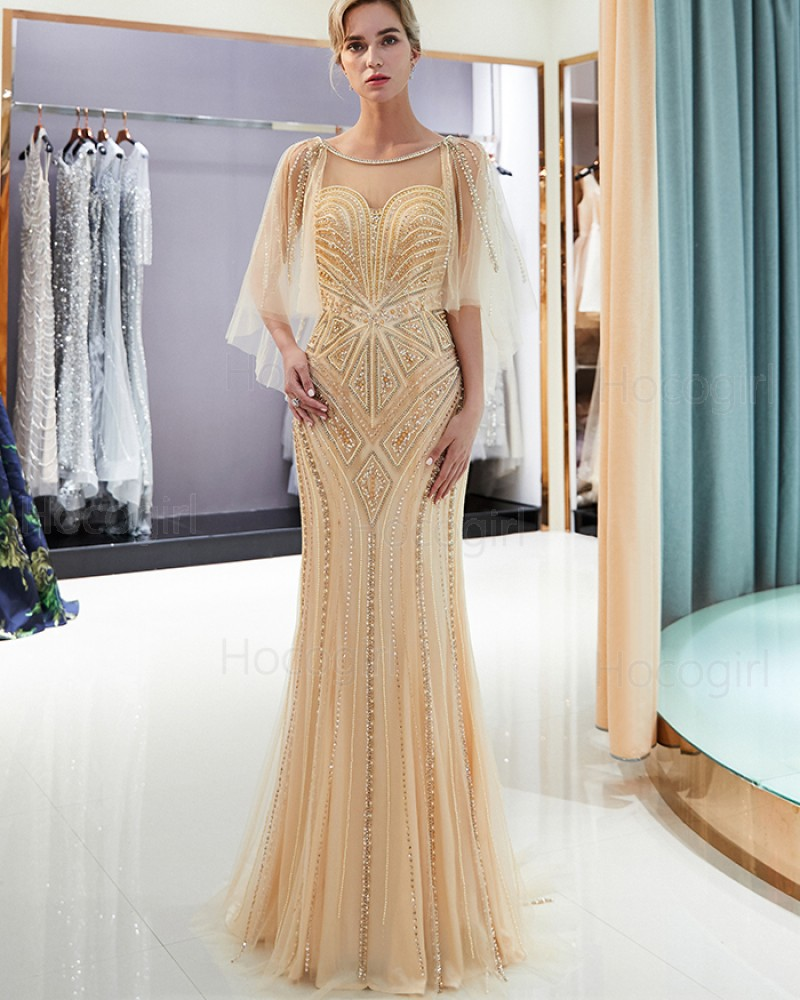 Jewel Gold Geometric Pattern Beading Evening Dress with Flowing Sleeves QD020