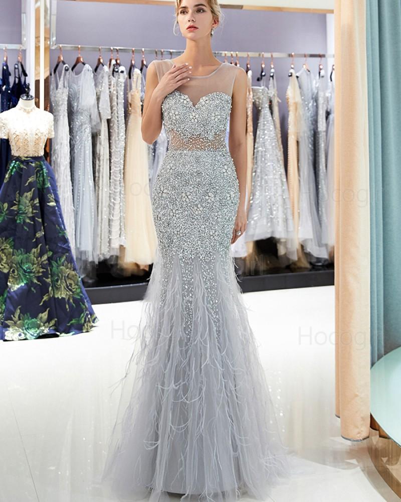 Gorgeous Sheer Neck Grey Sparkle Beading Mermaid Evening Dress QD022