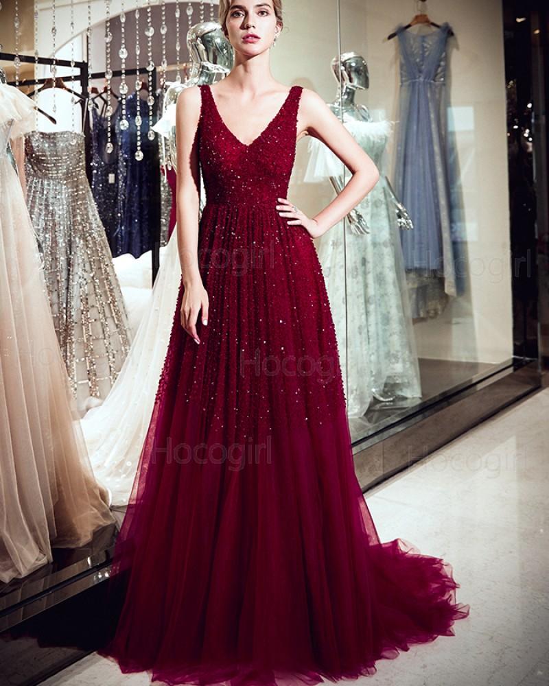 V-neck Burgundy Sparkle Beading Pleated Evening Dress QD023