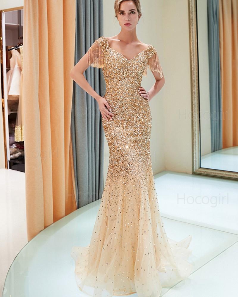 V-neck Sparkle Beading Mermaid Gold Evening Dress with Tassels Sleeves QD024