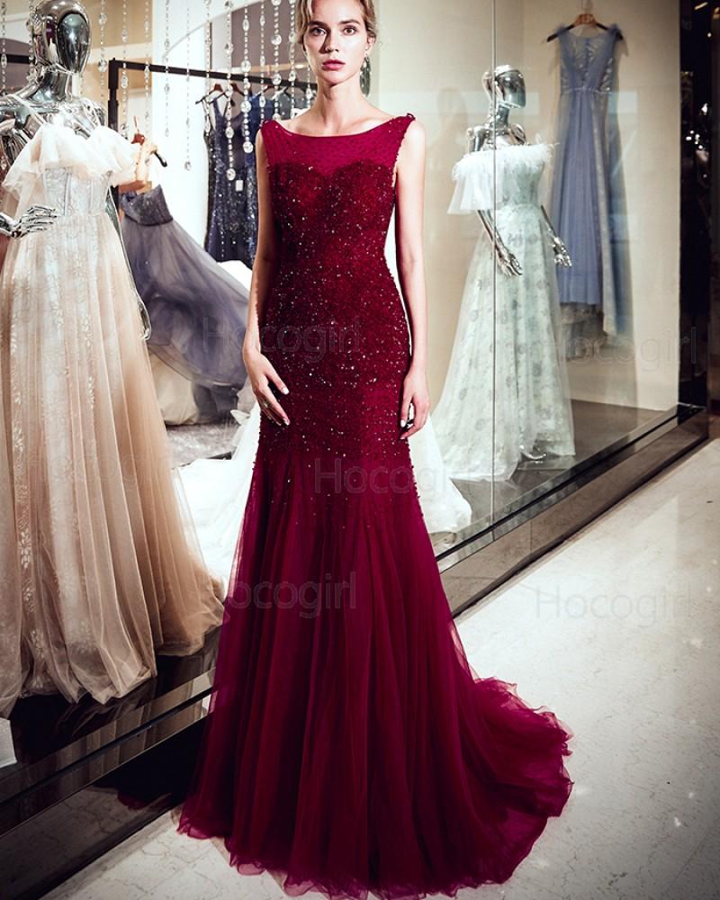 Amazing Bateau Burgundy Beading Mermaid Pleated Evening Dress QD026D