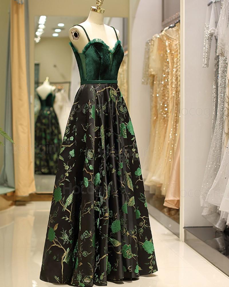 Spaghetti Straps Green Velvet Bodice Embroidery Evening Dress QD027