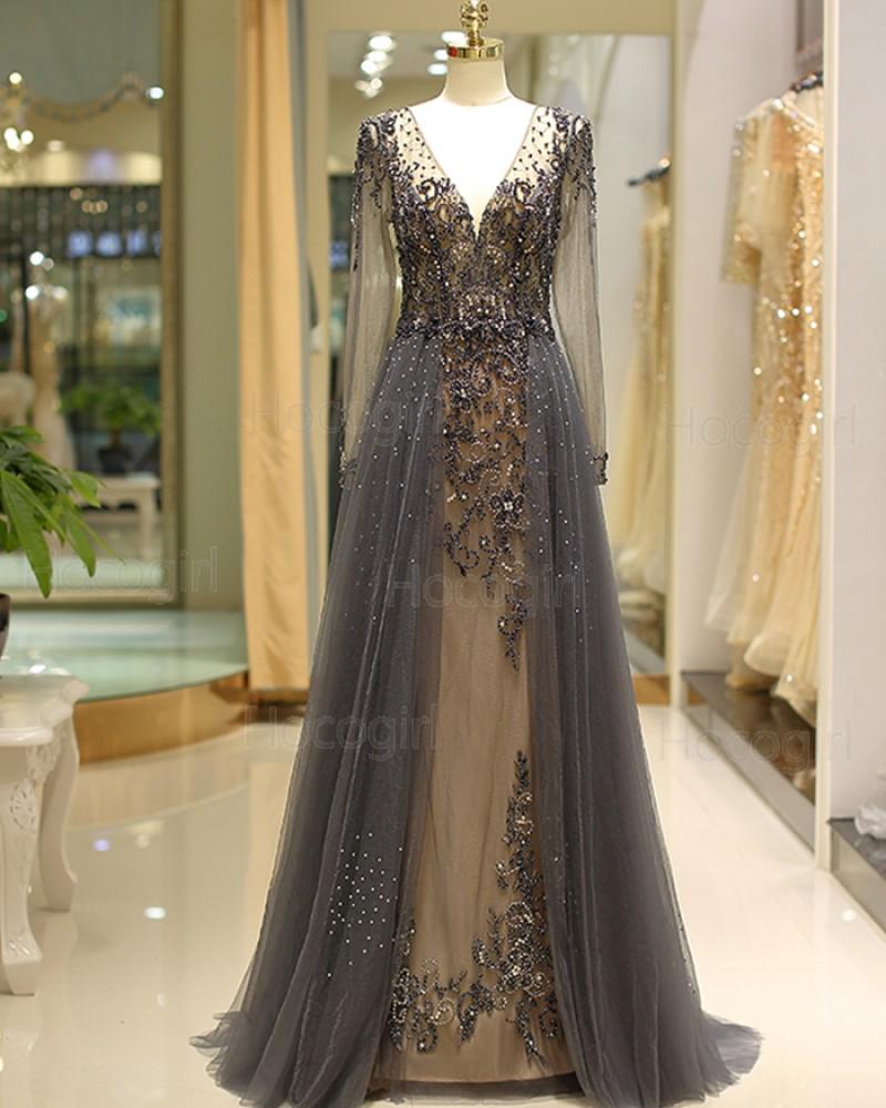 V-neck Long Sleeve Beading Evening Dress with Tulle Skirt QD040