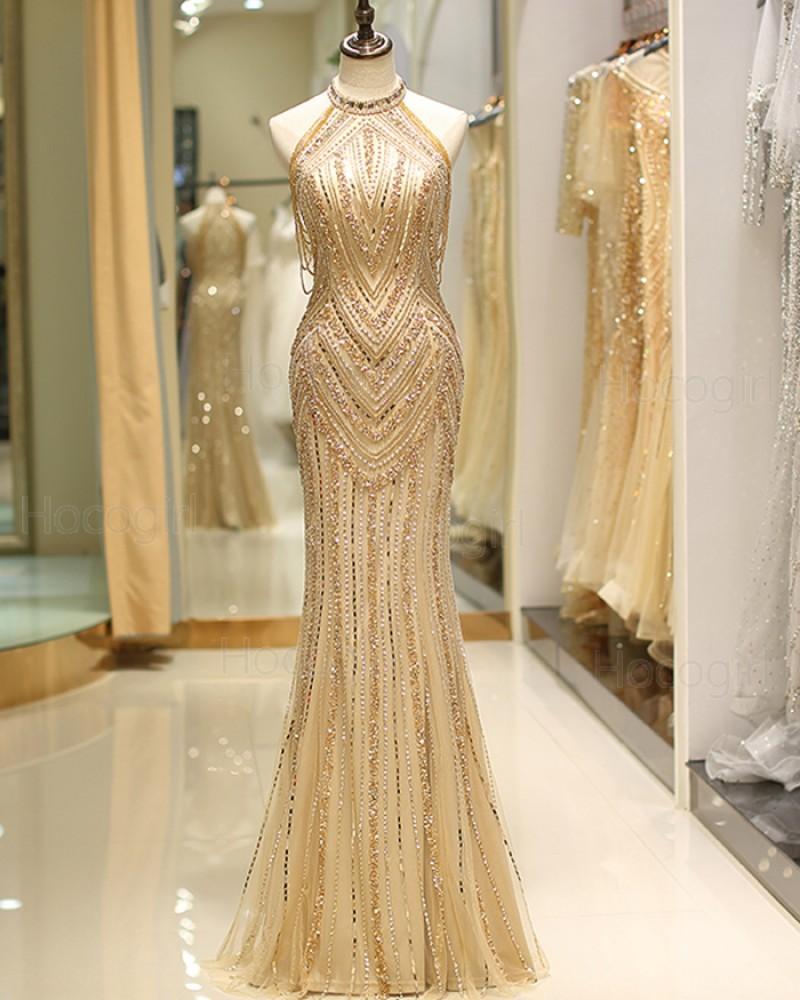 Gorgeous High Neck Gold Beading Mermaid Style Evening Dress QD043