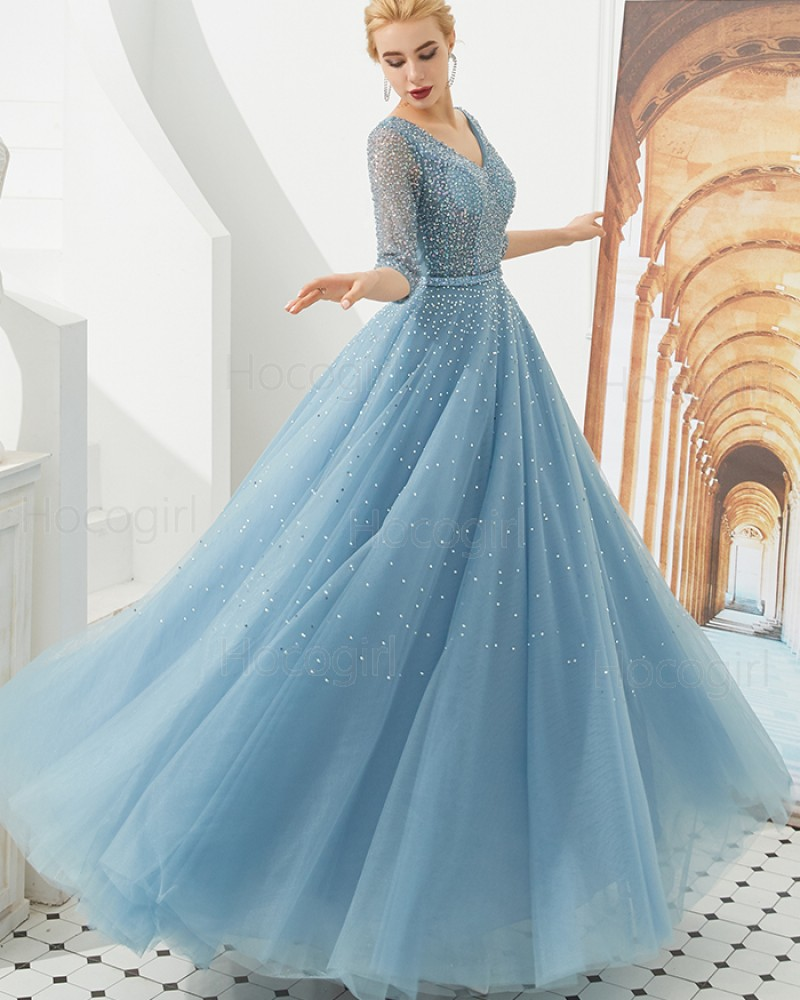 96b362f18534 -41% V-neck Beading Tulle Dusty Blue Evening Dress with Half Length Sleeves