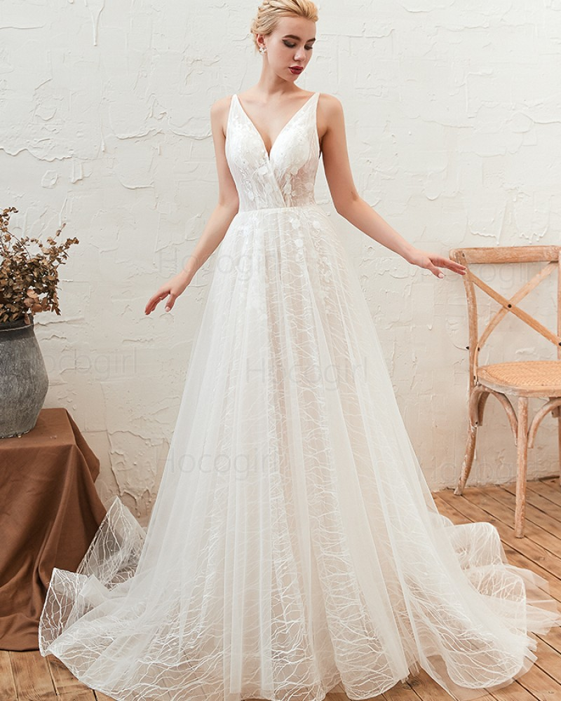V Neck Lace Tulle White A Line Wedding Dress With Lace Up Qdwd002