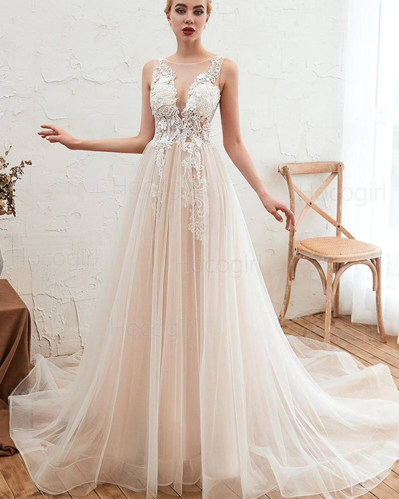 Jewel Lace Applique Ivory Tulle Wedding Dress QDWD004