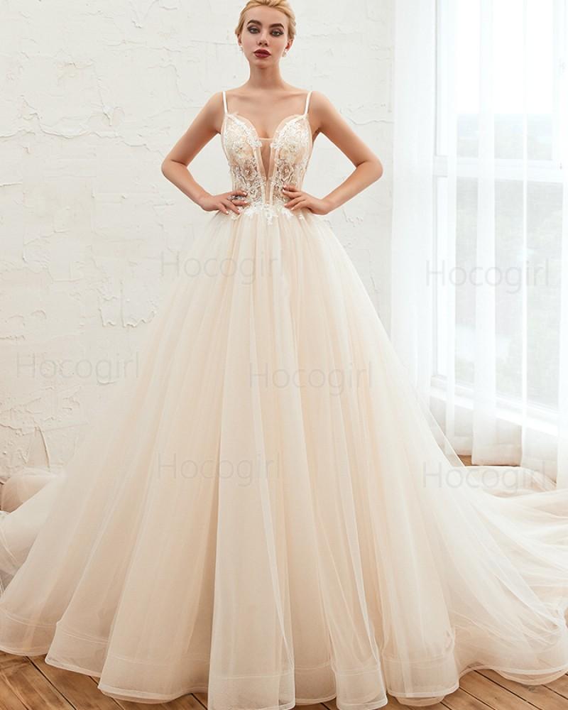 Spaghetti Straps Ivory Beading Lace Bodice Tulle Wedding Dress QDWD006