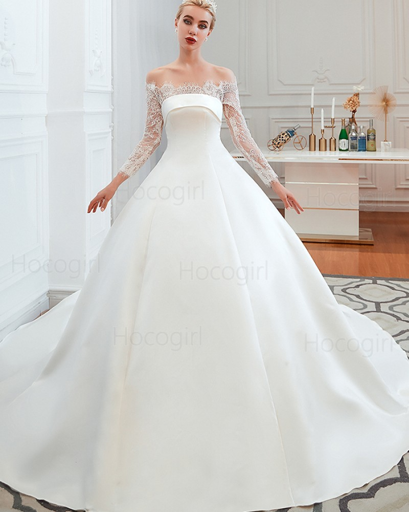 Off the Shoulder Lace Applique Satin Fall Wedding Dress with Long Sleeves QDWD007