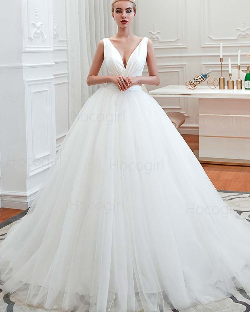 Simple V-neck Ruched White Pleated Tulle Wedding Dress QDWD009