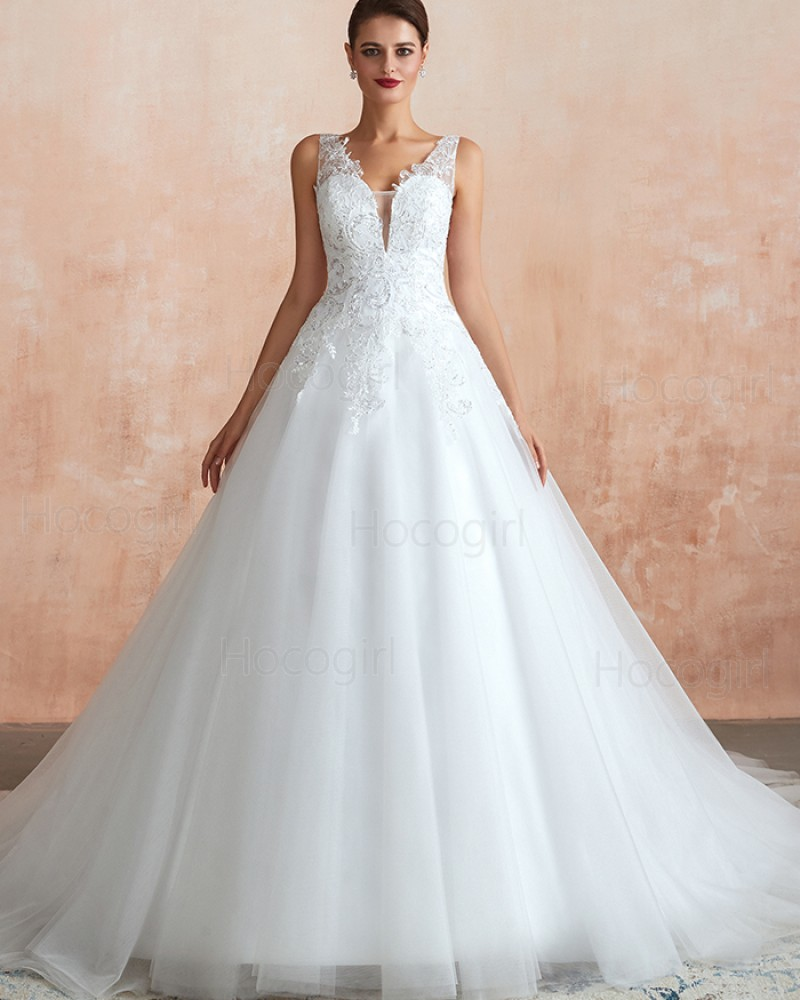 A Line Wedding Dresses.V Neck White Lace Appliqued Tulle A Line Wedding Dress Qdwd011