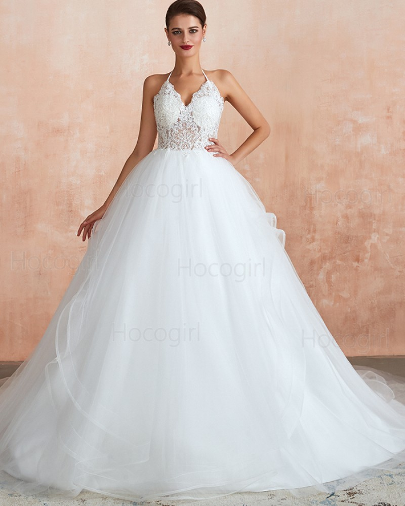 White Halter Lace Bodice Tulle Ball Gown Wedding Dress QDWD012