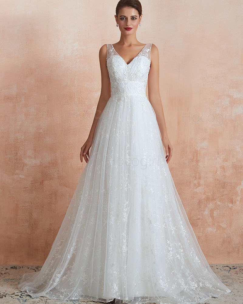V Neck Lace Pleated White A Line Wedding Dress Qdwd013