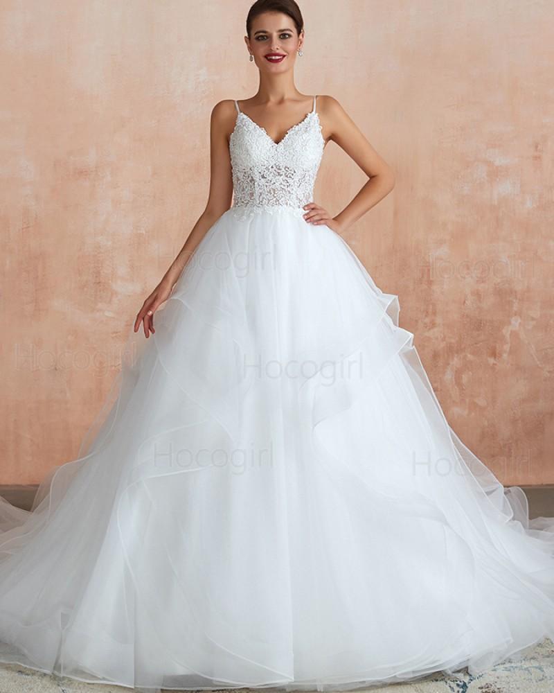 Spaghetti Straps Lace Bodice White Ruffle Wedding Gown QDWD015