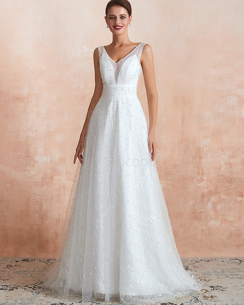 V-neck Beading Pearls Lace White A-line Wedding Dress QDWD016