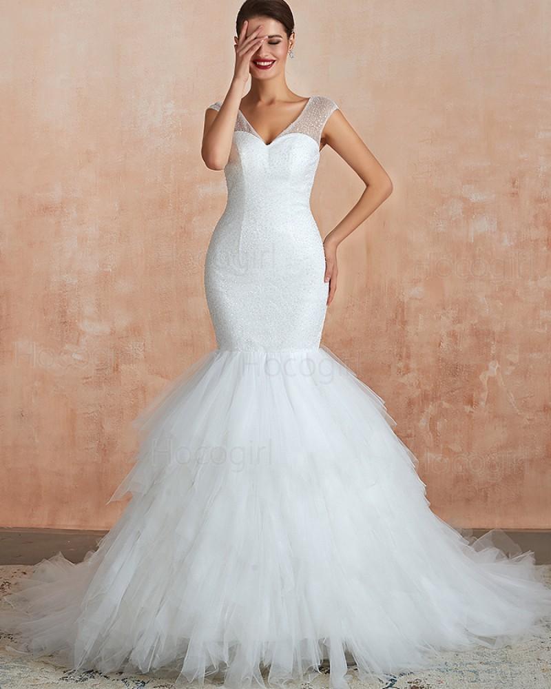 V-neck Sequin White Mermaid Ruffled Wedding Dress QDWD017