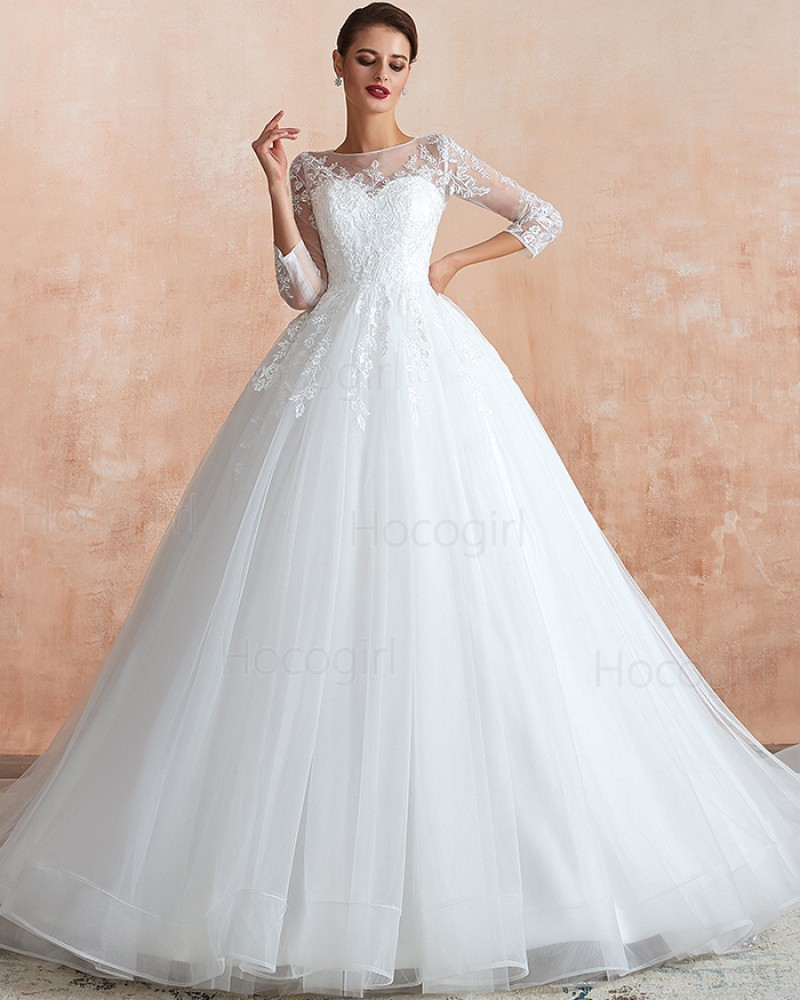 Jewel Lace Appliqued A-line Tulle Wedding Gown with 3/4 Length Sleeves QDWD019