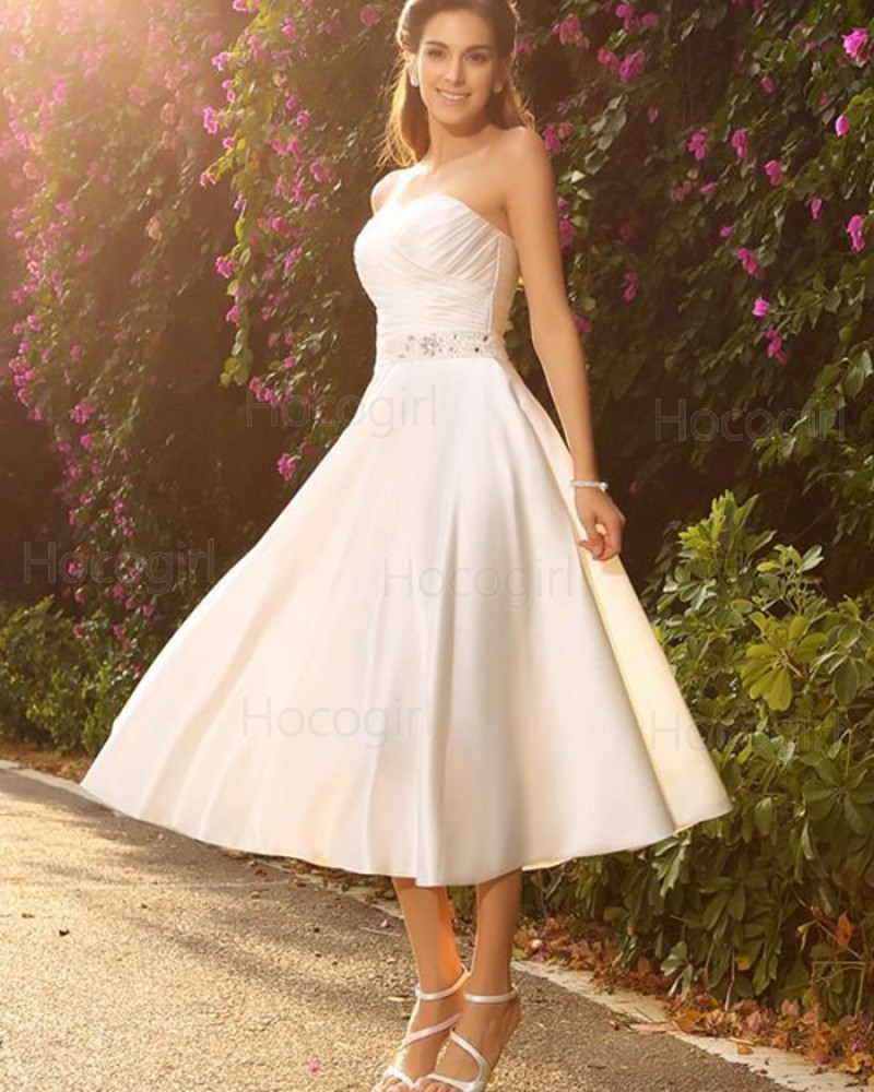 Strapless Ivory Ruched Tea Length Simple Short Wedding Dress with Beading Sash WD2011