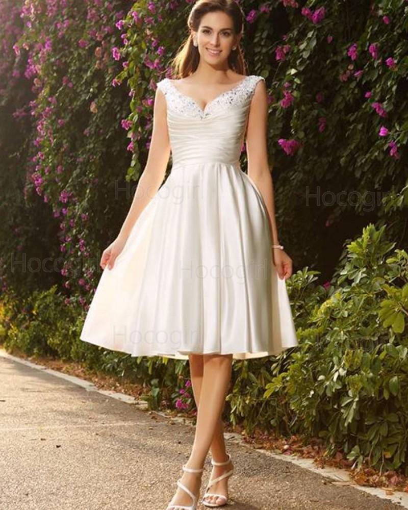 V-neck Beading Ruched Satin Ivory Knee Length Short Wedding Dress WD2016