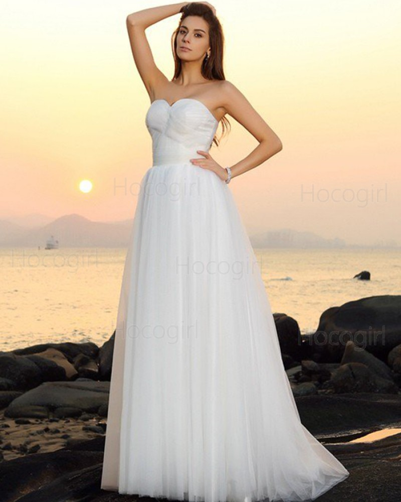 Sweetheart Ruched Tulle Ivory Simple Beach Wedding Dress WD2017