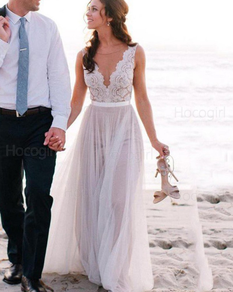 outlet store lace up in pick up Jewel Lace Bodice Tulle Ivory Beach Wedding Dress WD2038
