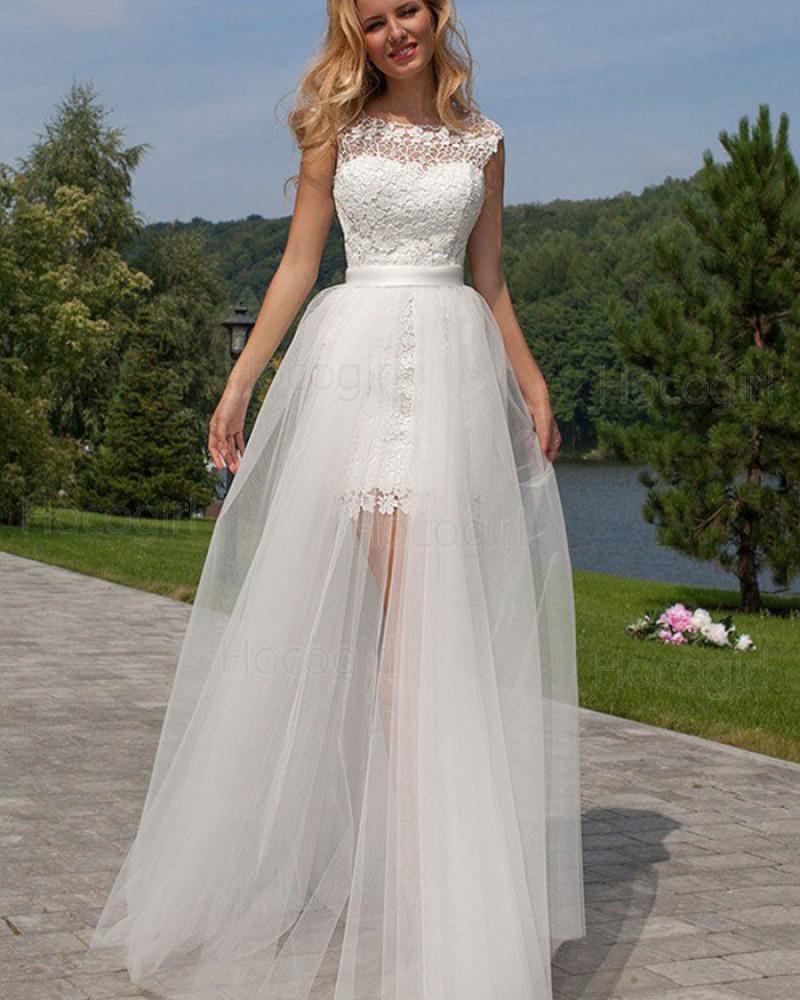 Jewel Lace Short White Wedding Dress with Detachable Skirt WD2042