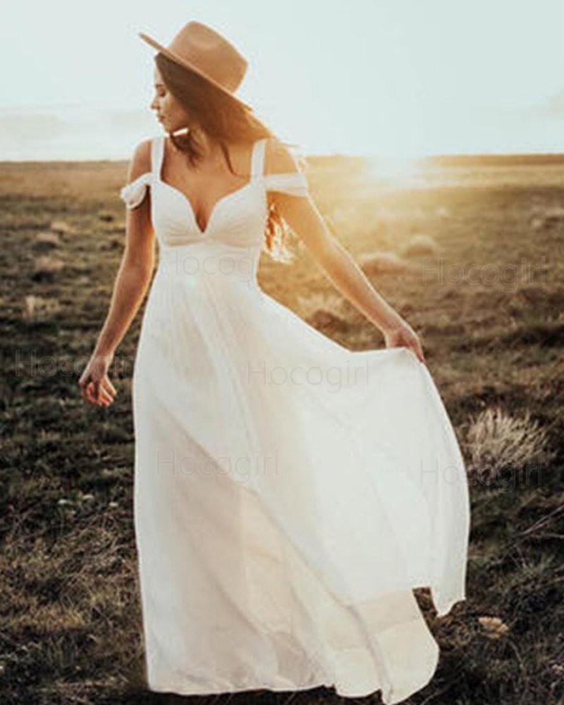 Cold Shoulder Pleated Chiffon Ivory Sheath Beach Wedding Dress WD2048