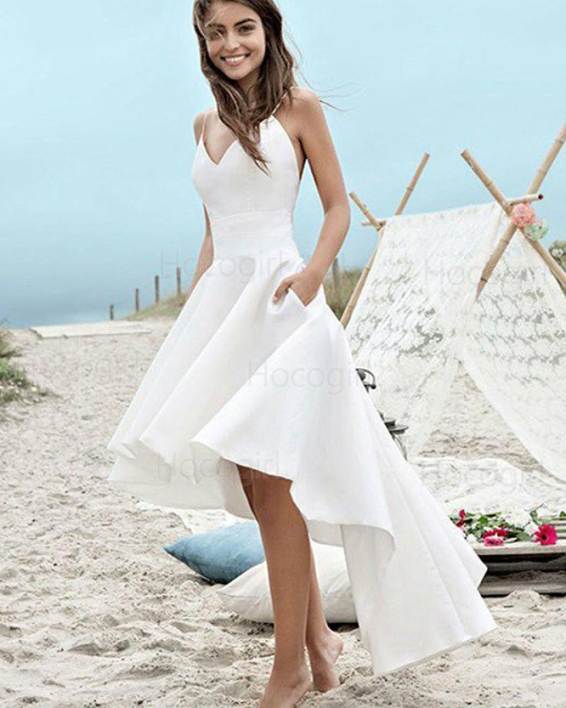 Spaghetti Straps High Low White Satin Beach Wedding Dress with Pockets WD2058