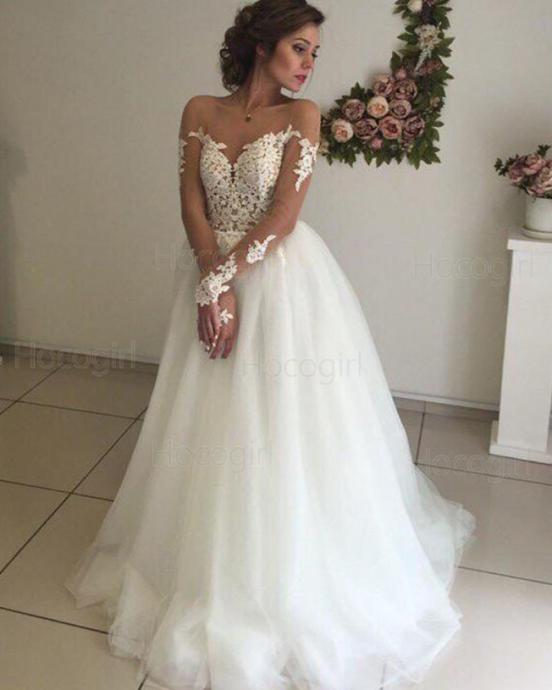 Sheer Neck White Lace Bodice Tulle Wedding Dress With Long Sleeves Wd2060