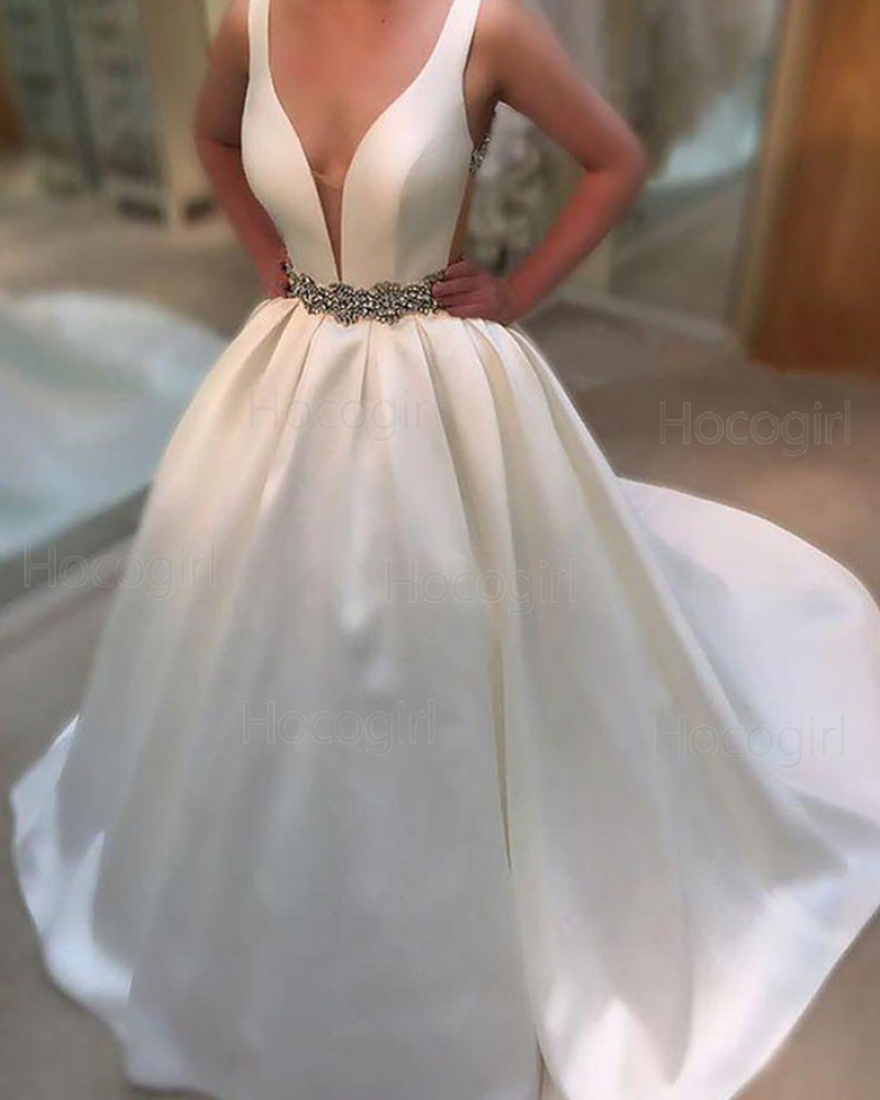 Simple White Deep V-neck Wedding Gown with Belt WD2065