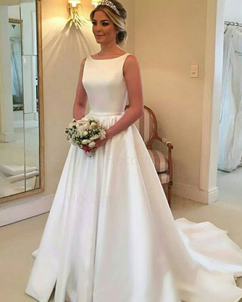 Simple Satin Jewel White Pleated Fall Wedding Dress with Cute Bowknot WD2081