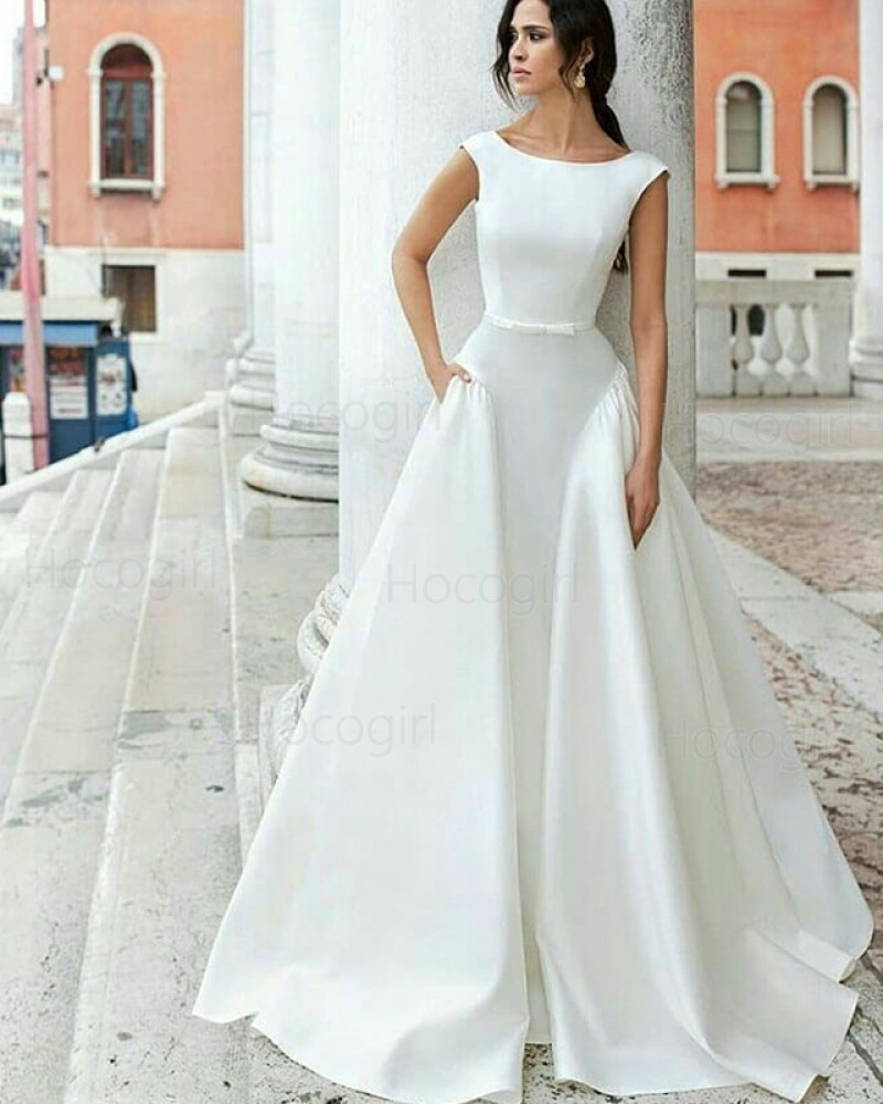 Simple Jewel White A Line Satin Wedding Dress With Pockets Wd2087