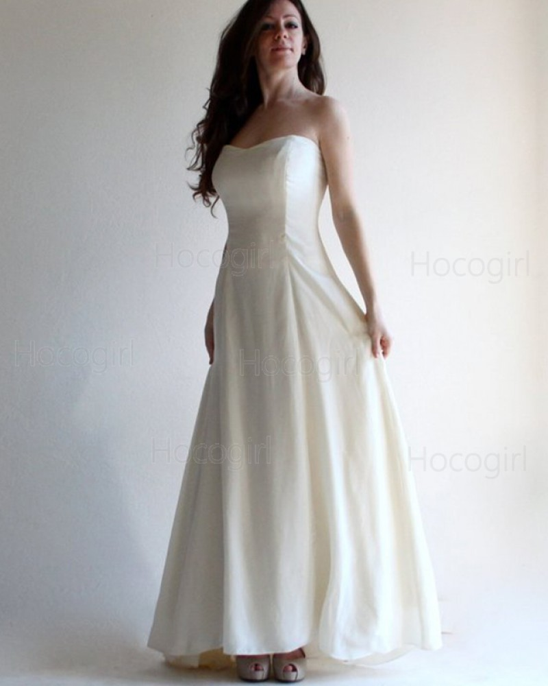 Simple Beach Wedding Dresses.Simple Strapless Satin Ivory Simple Beach Wedding Dress With Lace Up Wd2125