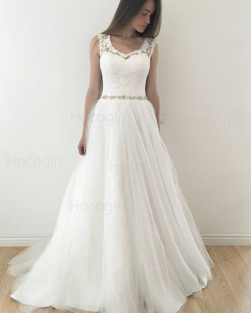 Scoop Lace Bodice Tulle Pleated White Wedding Dress with Beading Belt WD2126