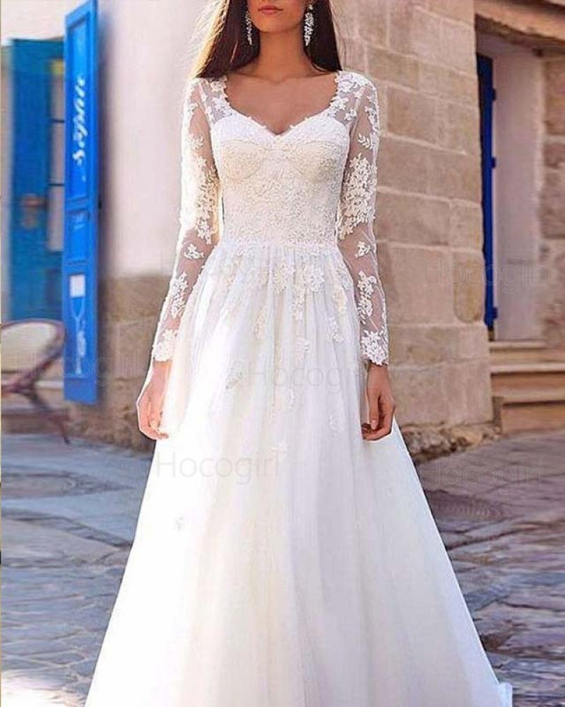 Scoop Lace Appliqued Bodice White Wedding Dress with Long Sleeves WD2131